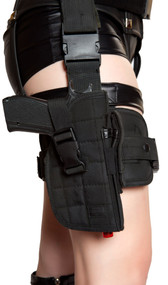 Gun leg holster with belt. Belt is canvas, adjustable with clasp closure. Toy gun included.
