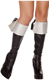 "Metallic silver glitter boot cuffs with black ribbon tie back. Measure about 7-1/4"" tall. Pair."