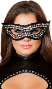 Wet look cat eye mask with rhinestone detail and elastic strap.
