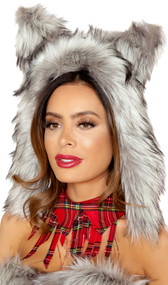 Furry wolf hood with ears and elastic back. Back side is plain gray fabric, fur is only trim of face and the ears. Ties below chin.