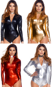 Metallic long sleeve bodysuit with mock neck and front zipper opening.