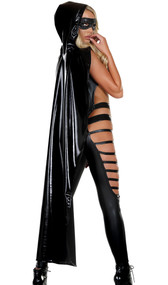 Full length metallic hooded cape with adjustable tie closure.