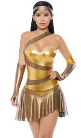 Golden Amazonian Hero costume includes metallic sleeveless dress with asymmetrical skirt, headband, and arm gauntlets. Three piece set.