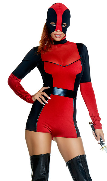 Hunt You Down costume includes long sleeve two-toned romper with mock neck and zip up back, mask headpiece, and belt. Three piece set.