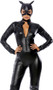 Claws Out Cat costume includes faux leather long sleeve catsuit featuring zipper front and faux stitching detail, matching mask. Two piece set.