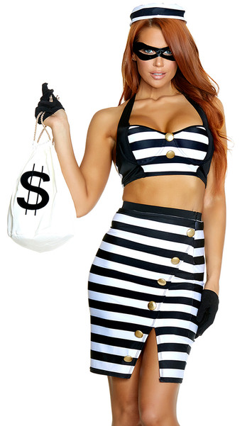 The Ultimate Scam robber costume includes striped crop top with faux button detail, matching pencil skirt, hat, mask and gloves. Five piece set.