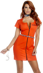 Guilty Glam inmate costume includes short sleeve zip front mini dress with inmate number on front and Guilty As Charged printed on the back. Handcuffs also included. Two piece set.