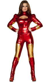 Hot Metal Mistress costume includes long sleeve metallic cut out top with back zipper and matching pants. Two piece set.