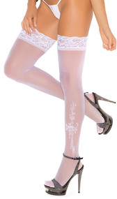 Sheer lace top thigh hi with applique and rhinestone detail.