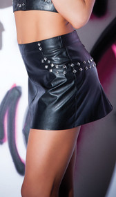 Faux leather mini skirt features stud detailing and back zipper opening.