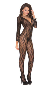 Deep V long sleeve lace bodystocking with open crotch.