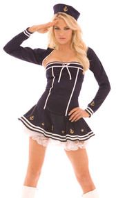 Harbor Hottie costume includes dress, shrug and hat. Three piece set.