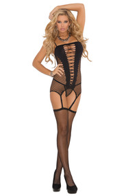 Seamless diamond net camisette with attached adjustable garters. Includes matching g-string and fishnet stockings. Three piece set.