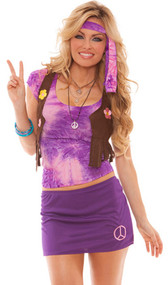 Hippie Chick costume includes tie dye top, fringed vest with flowers, mini skirt with peace sign, and head scarf. Four piece set.