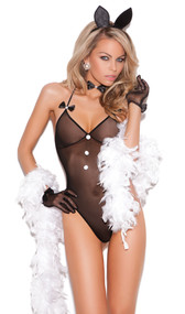 Bunni Love costume includes: Mesh halter neck teddy with faux buttons, satin bows and cotton tail detail. Neck piece with satin bow and head piece with ears are also included. Three piece set.