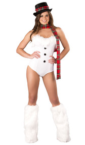 Ice Queen snowman costume includes strapless velvet romper with faux fur trim, and plaid scarf. Two piece set. Crotch on romper does not open.