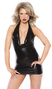 Wet look sleeveless cowl neck halter style mini dress. Slips on over neck, back is cut about midway down.