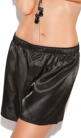 Charmeuse satin unisex boxer short. Button closure and elastic waistband.