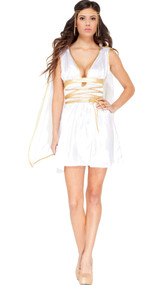 Gold accented charmeuse dress comes complete with detachable angelic cape and coordinating gold headband.