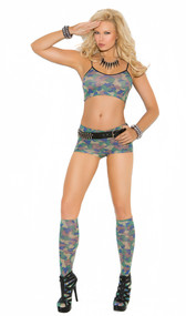 Camouflage print cami crop top, booty shorts and matching knee high stockings set.