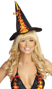 Candy witch hat with lace up front. Inside has satin ribbon ties that can tie around the head for a snug fit, or you can tuck them up underneath the hat.