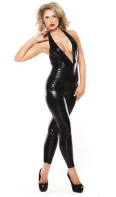 Wet look catsuit with plunging neckline and halter neck.