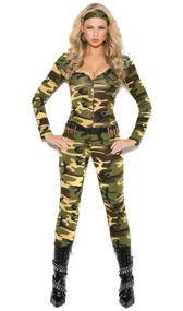 Combat Warrior costume includes long sleeve zip front camouflage jumpsuit, bullet belt, and camouflage head scarf. Three piece set.