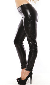 Curve skimming wet look leggings with subtle criss-cross detailing on the side.