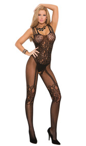 Fishnet and floral lace bodystocking with multiple straps, open crotch, and faux garter with stockings design.