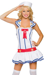 Flirty First Mate sailor costume includes dress with bow accent and hat. Two piece set.