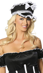 Maid hat with white bow and lace ruffle trim.