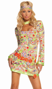 Groovy Chick hippie costume includes paisley print dress, belt, and head piece. Three piece set.