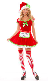 Ho Ho Helper red velvet Christmas holiday costume includes dress with ruffle trim, light up apron and hat. Three piece set.