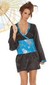 Japanese Doll costume includes satin dress with tapestry sash and parasol. Parasol included varies slightly from the picture. Ours is a light blue color with floral print design on it, similar to the tapestry print. Three piece set.