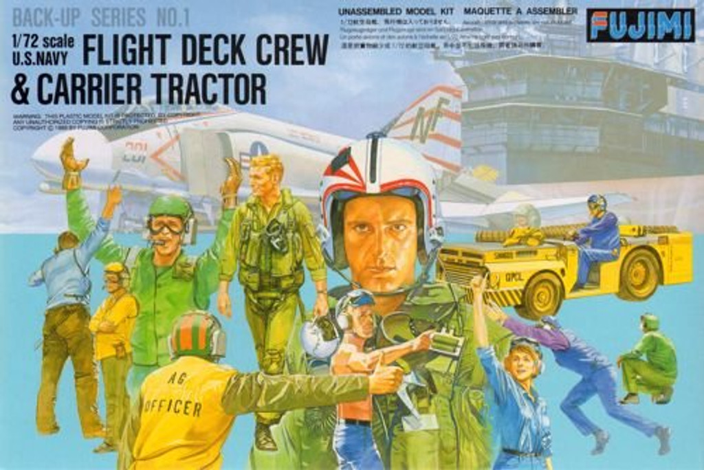 Fujimi Bup01 350011 US Navy Flight Deck Crew & Carrier Tracter 1/72 Scale Kit