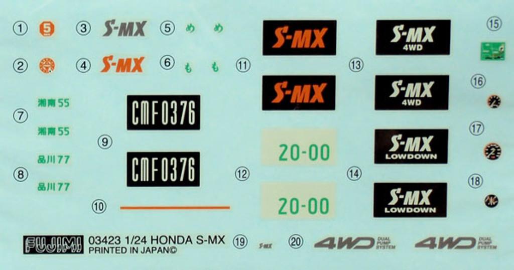 Fujimi ID-55 Honda S-MX Low Down 1/24 Scale Kit
