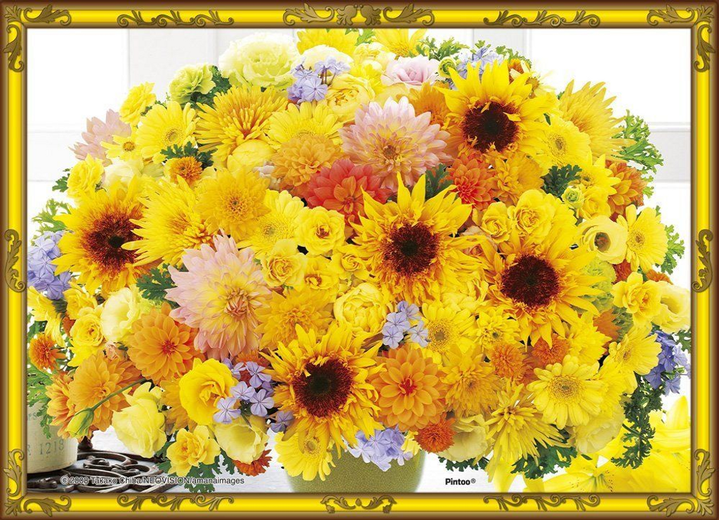 Beverly Crystal Jigsaw Puzzle CJP-029 Flower Art Happy Yellow (165 Pieces)