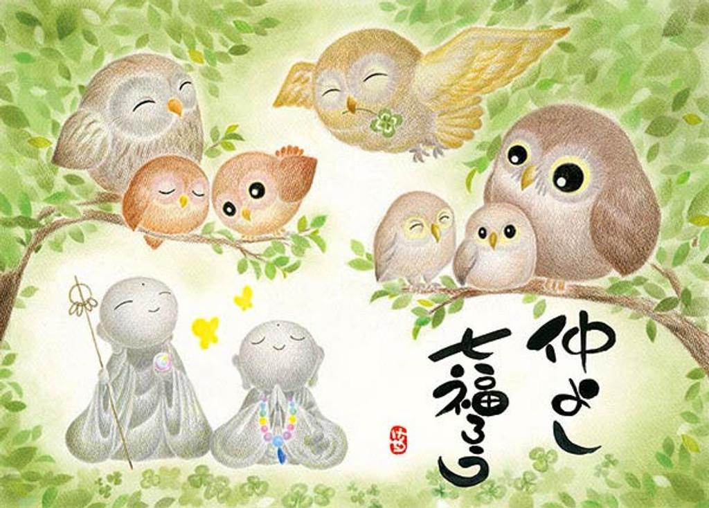 APPLEOne Jigsaw Puzzle 500-237 Japanese Art Jizo and Owl (500 Pieces)