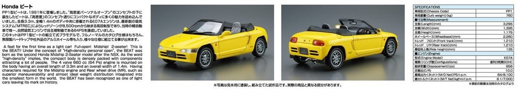 Aoshima 53393 The Model Car 39 Honda PP1 Beat 1991 1/24 scale kit