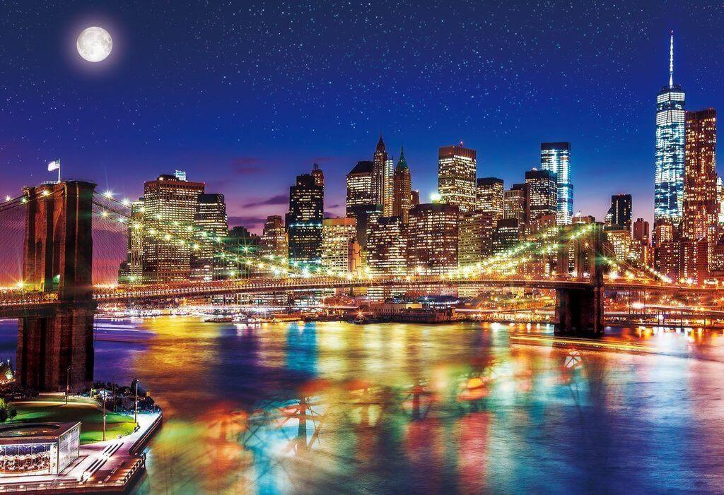 Epoch Jigsaw Puzzle 25-145 Night View Brooklyn Bridge New York (300 Pieces)
