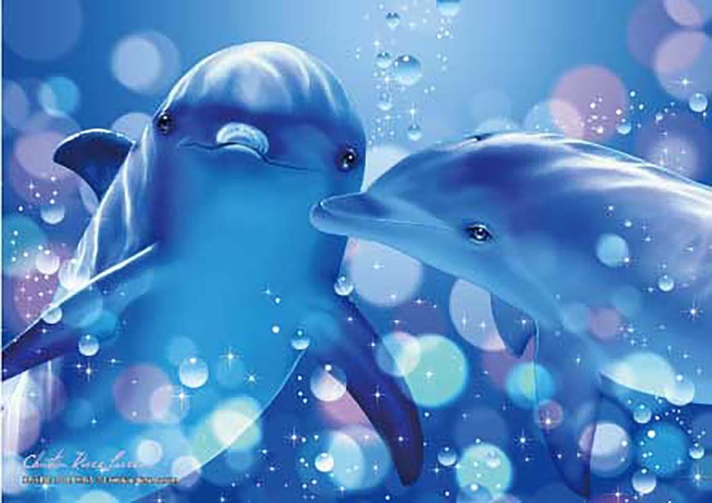 Epoch Jigsaw Puzzle 55-503 Lassen Kissing Dolphins (216 S-Pieces)