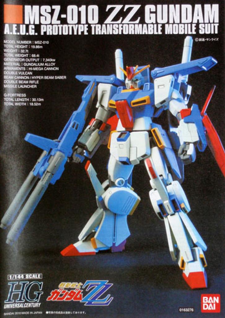 Bandai HGUC 111 Gundam MSZ-010 ZZ Gundam 1/144 Scale Kit