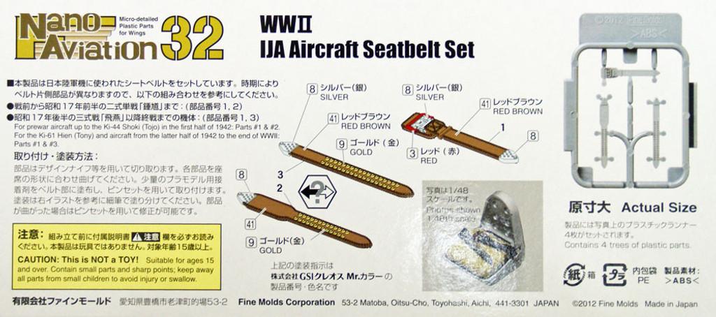 Fine Molds NH3 WW2 IJA Aircraft Seatbelt Set 1/32 Scale Kit