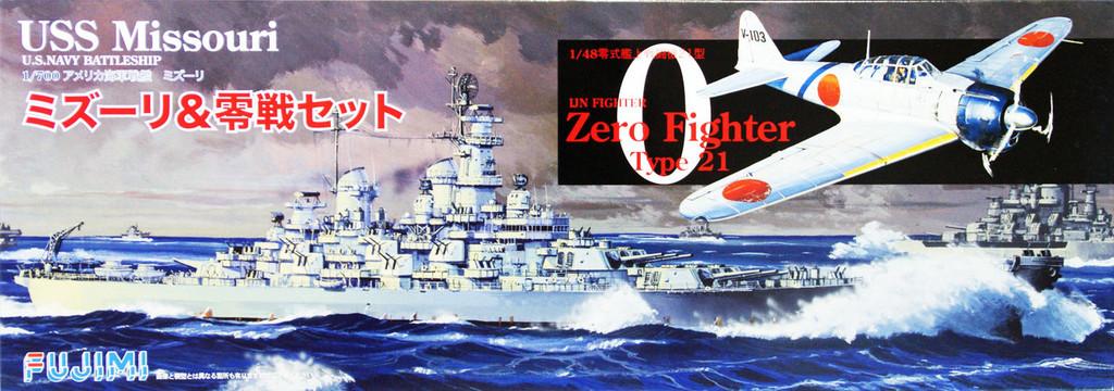 Fujimi TOKU SP28 USS Missouri 1/700 Scale & IJN Zero Fighter Type 21 1/48 Scale