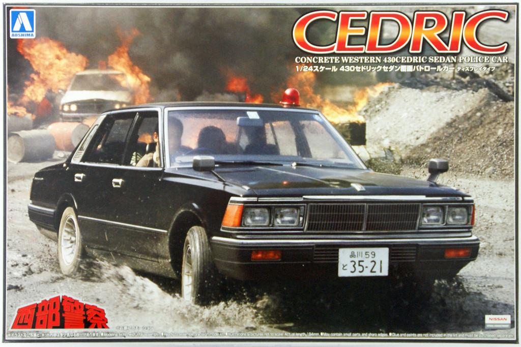 Aoshima 07914 Nissan 430 Cedric Sedan Police Car (Seibu Keisatsu) 1/24 Scale Kit