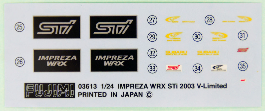 Fujimi ID-103 Subaru Impreza WRX Sti 2003 or 2003 V-Limited 1/24 convertible Kit 039404