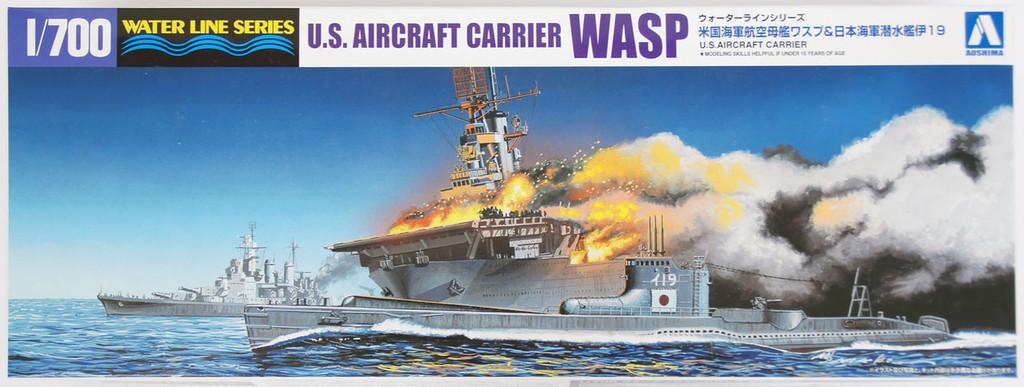 Aoshima Waterline 10303 US Aircraft Carrier WASP & Japanese Submarine I-19 1/700 Scale Kit