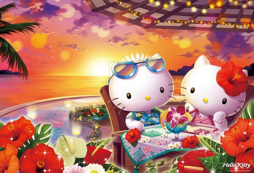 Beverly Jigsaw Puzzle 31-424 Sanrio Hello Kitty Tropical Sunset (1000 Pieces)