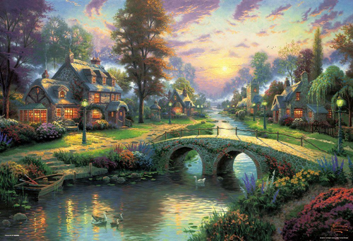 Beverly Jigsaw Puzzle 61-389 Thomas Kinkade Happy Evening (1000 Pieces)