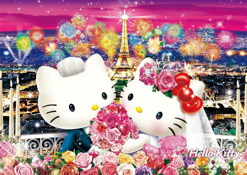 Beverly Jigsaw Puzzle 88-003 Sanrio Hello Kitty Wedding in Paris (88 L-Pieces)